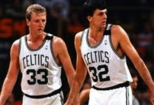 Two of the most dynamic forwards of all time: Bird and McHale.