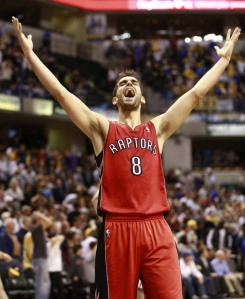 A familiar sight for Raptors fans: the ecstatic Calderon.