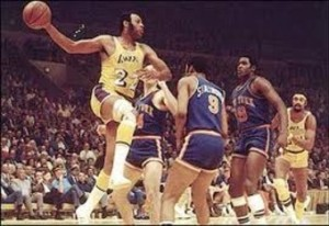 This is Elgin Baylor. He is a very good basketball player.