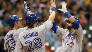 A rare moment of joy and high fives. Welcome to the Jays in April.