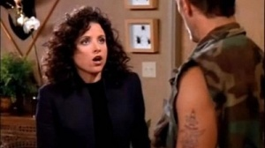 Elaine gets her first look at the fatigues.