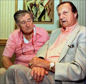 Ted Williams, left, with Stan Musial. Giants of baseball.