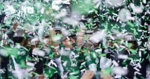 The Saskatchewan Roughriders celebrate their Grey Cup victory