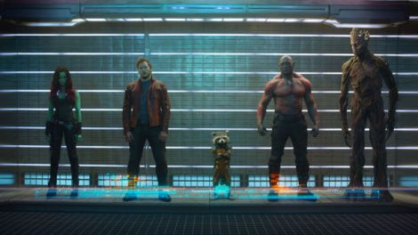 Left to Right: Gamora, Star-Lord, Rocket, Drax the Destroyer, Groot.