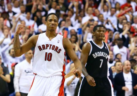 DeMar DeRozan would like to win this basketball game. Sorry, Joe.