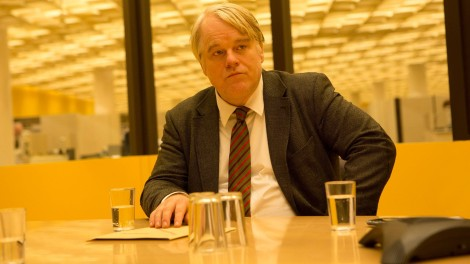 The weathered face of Philip Seymour Hoffman as Gunter Bachmann.
