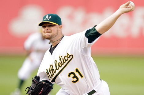 Jon Lester gunning for the Oakland A's.