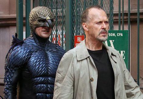 Riggan (Keaton) and Birdman (Not Keaton). Not shown: Batman.