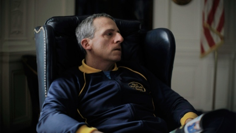 Steve Carell as du Pont. Pondering.