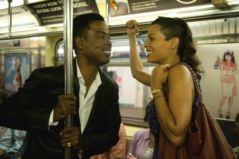 Chris Rock and Rosario Dawson share a fun moment in NYC.