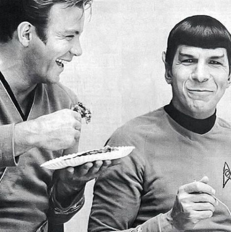 Nimoy and Shatner, off-camera.