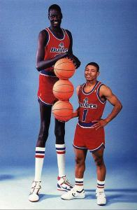7'7 stands next to 5'2. Only in the NBA.