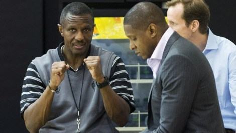 Dwane Casey and Masai Ujiri at work.