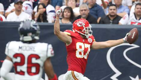 Travis Kelce celebrates against the Texans earlier this season