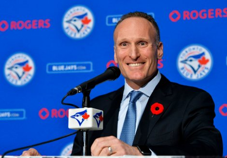 Toronto Blue Jays new president and chief executive officer Mark Shapiro holds a news conference in Toronto on Monday, Nov. 2, 2015. (Nathan Denette/The Canadian Press via AP)