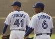 SPECIAL SECTION FRONT DO NOT SYNDICATE UNTIL AFTER PUBLICATION DUNEDIN - MARCH 3 - 416 the numbers of pitchers Aaron Sanchez (46) and Marcus Stroman (6) combine to make up the traditional area code for Toronto. Photos taken on March 3, 2015.     Rick Madonik/Toronto Star