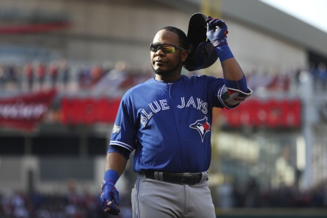 SP-JAYS-PHOTOS15OCT CLEVELAND, OH - OCTOBER, 15   Toronto Blue Jays first baseman Edwin Encarnacion (10) takes off his helmet after grounding out in the first.